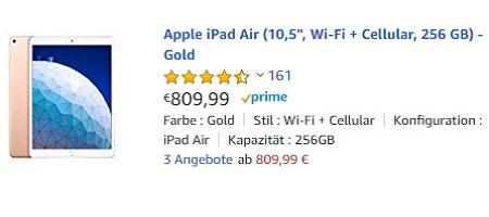"Apple iPad Air (10,5"", Wi-Fi + Cellular, 256 GB) - Gold"